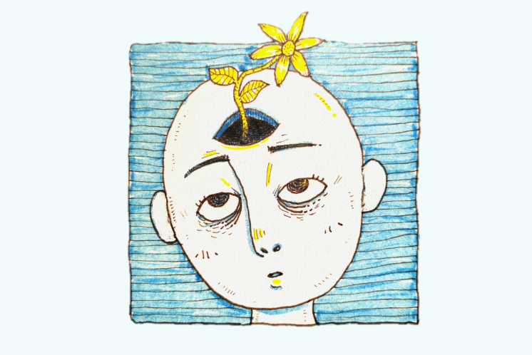 Fatigue cartoon with a tired head with a flower coming out of the brain