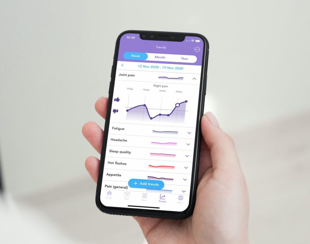 Person holding phone with OWise joint pain graph