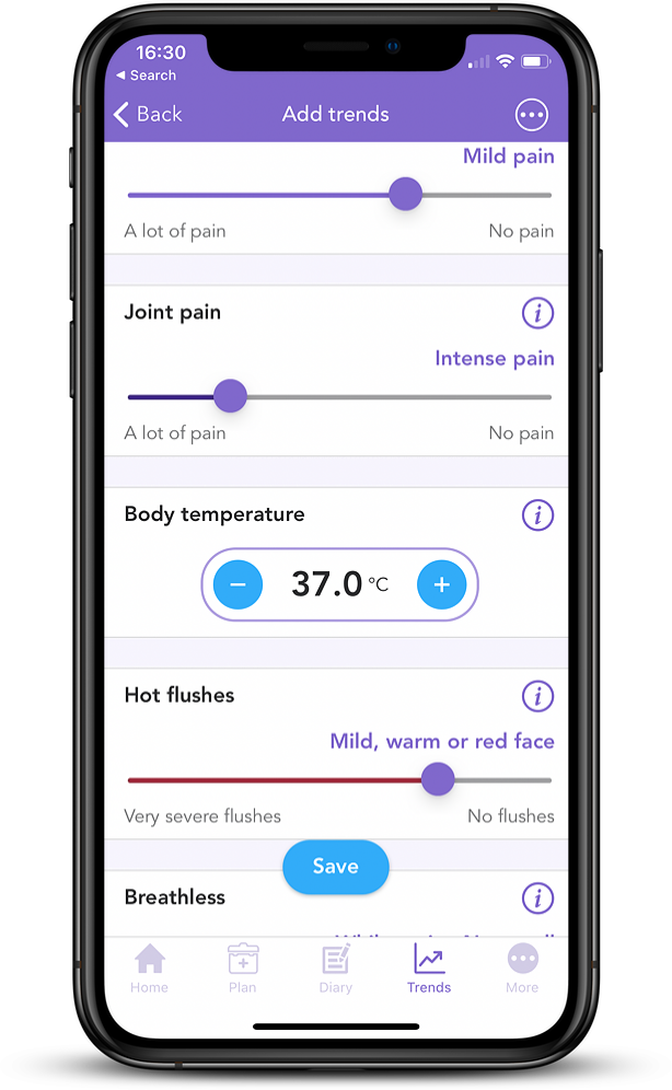 iPhone Mockup showing OWise App with Joint Pain slider