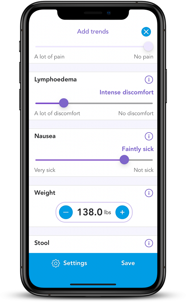 iPhone Mockup with OWise app on adding trends screen showing lymphoedema, nausea, weight and stool sliders.